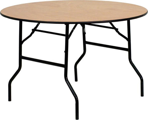 48'' Round Wood Folding Banquet Table with Clear Coated Finished Top YT-WRFT48-TBL-GG by Flash Furniture - Peazz Furniture