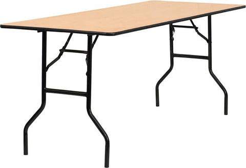 72'' Rectangular Wood Folding Banquet Table with Clear Coated Finished Top YT-WTFT30X72-TBL-GG by Flash Furniture - Peazz Furniture