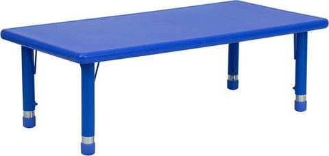 24''W x 48''L Height Adjustable Rectangular Blue Plastic Activity Table YU-YCX-001-2-RECT-TBL-BLUE-GG by Flash Furniture - Peazz Furniture