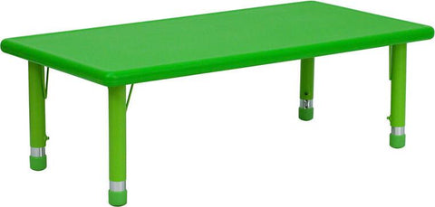 24''W x 48''L Height Adjustable Rectangular Green Plastic Activity Table YU-YCX-001-2-RECT-TBL-GREEN-GG by Flash Furniture - Peazz Furniture