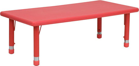 24''W x 48''L Height Adjustable Rectangular Red Plastic Activity Table YU-YCX-001-2-RECT-TBL-RED-GG by Flash Furniture - Peazz Furniture