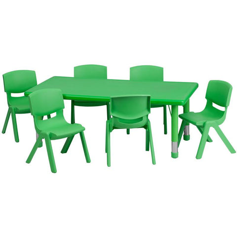 Flash Furniture YU-YCX-0013-2-RECT-TBL-GREEN-E-GG 24''W x 48''L Adjustable Rectangular Green Plastic Activity Table Set with 6 School Stack Chairs - Peazz Furniture