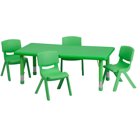 Flash Furniture YU-YCX-0013-2-RECT-TBL-GREEN-R-GG 24''W x 48''L Adjustable Rectangular Green Plastic Activity Table Set with 4 School Stack Chairs - Peazz Furniture