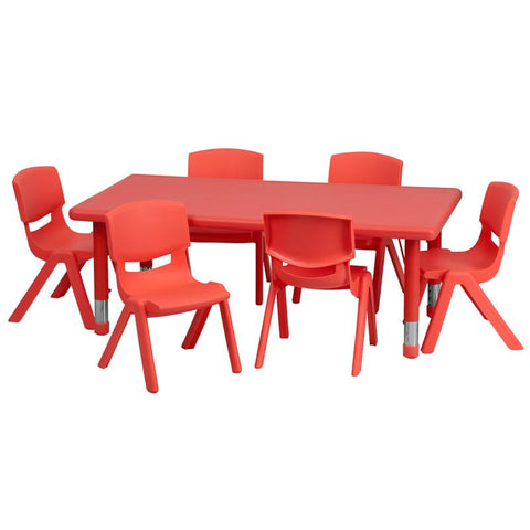 Flash Furniture YU-YCX-0013-2-RECT-TBL-RED-E-GG 24''W x 48''L Adjustable Rectangular Red Plastic Activity Table Set with 6 School Stack Chairs - Peazz Furniture