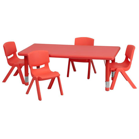 Flash Furniture YU-YCX-0013-2-RECT-TBL-RED-R-GG 24''W x 48''L Adjustable Rectangular Red Plastic Activity Table Set with 4 School Stack Chairs - Peazz Furniture