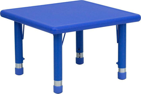 24'' Square Height Adjustable Blue Plastic Activity Table YU-YCX-002-2-SQR-TBL-BLUE-GG by Flash Furniture - Peazz Furniture