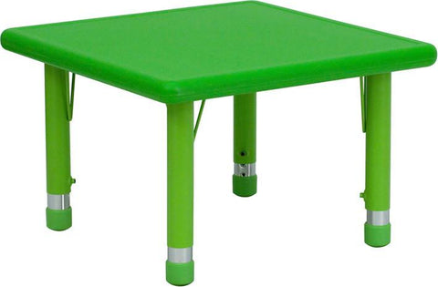 24'' Square Height Adjustable Green Plastic Activity Table YU-YCX-002-2-SQR-TBL-GREEN-GG by Flash Furniture - Peazz Furniture