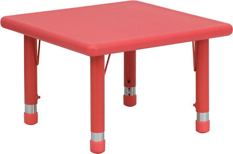 24'' Square Height Adjustable Red Plastic Activity Table YU-YCX-002-2-SQR-TBL-RED-GG by Flash Furniture - Peazz Furniture