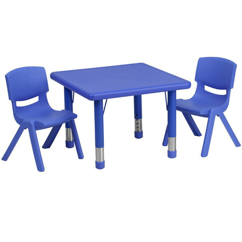 Flash Furniture YU-YCX-0023-2-SQR-TBL-BLUE-R-GG 24'' Square Adjustable Blue Plastic Activity Table Set with 2 School Stack Chairs - Peazz Furniture