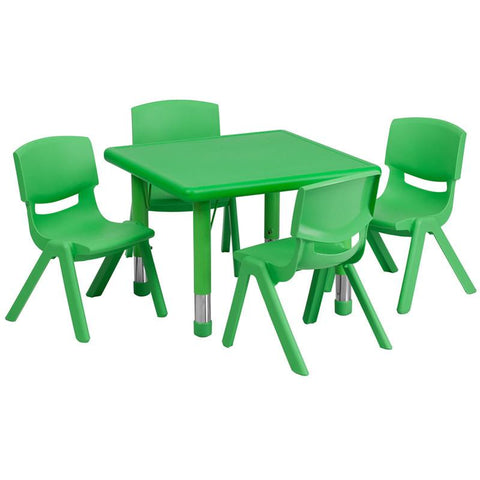 Flash Furniture YU-YCX-0023-2-SQR-TBL-GREEN-E-GG 24'' Square Adjustable Green Plastic Activity Table Set with 4 School Stack Chairs - Peazz Furniture