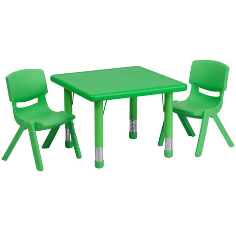 Flash Furniture YU-YCX-0023-2-SQR-TBL-GREEN-R-GG 24'' Square Adjustable Green Plastic Activity Table Set with 2 School Stack Chairs - Peazz Furniture