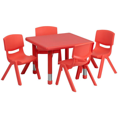 Flash Furniture YU-YCX-0023-2-SQR-TBL-RED-E-GG 24'' Square Adjustable Red Plastic Activity Table Set with 4 School Stack Chairs - Peazz Furniture