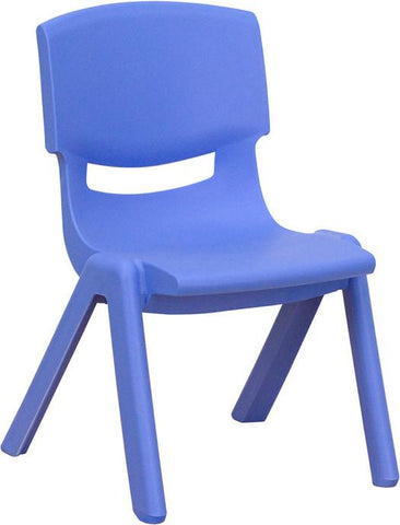 Blue Plastic Stackable School Chair with 10.5'' Seat Height YU-YCX-003-BLUE-GG by Flash Furniture - Peazz Furniture
