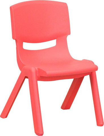 Red Plastic Stackable School Chair with 10.5'' Seat Height YU-YCX-003-RED-GG by Flash Furniture - Peazz Furniture