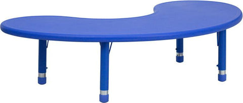 35''W x 65''L Height Adjustable Half-Moon Blue Plastic Activity Table YU-YCX-004-2-MOON-TBL-BLUE-GG by Flash Furniture - Peazz Furniture
