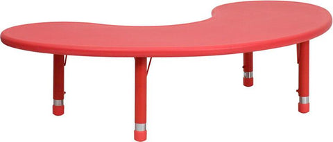 35''W x 65''L Height Adjustable Half-Moon Red Plastic Activity Table YU-YCX-004-2-MOON-TBL-RED-GG by Flash Furniture - Peazz Furniture
