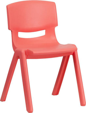 Flash Furniture YU-YCX-004-RED-GG Red Plastic Stackable School Chair with 13.25'' Seat Height - Peazz Furniture