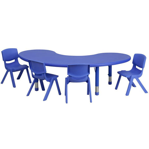 Flash Furniture YU-YCX-0043-2-MOON-TBL-BLUE-E-GG 35''W x 65''L Adjustable Half-Moon Blue Plastic Activity Table Set with 4 School Stack Chairs - Peazz Furniture