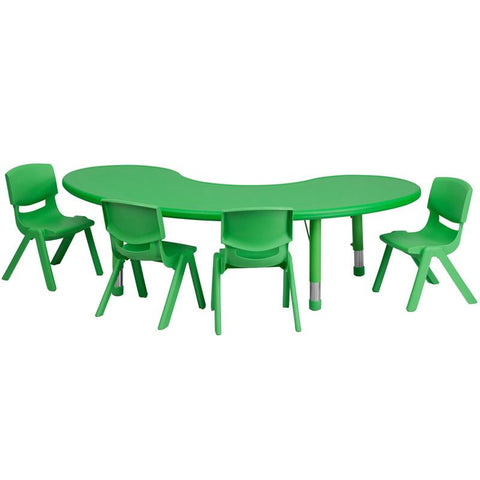 Flash Furniture YU-YCX-0043-2-MOON-TBL-GREEN-E-GG 35''W x 65''L Adjustable Half-Moon Green Plastic Activity Table Set with 4 School Stack Chairs - Peazz Furniture