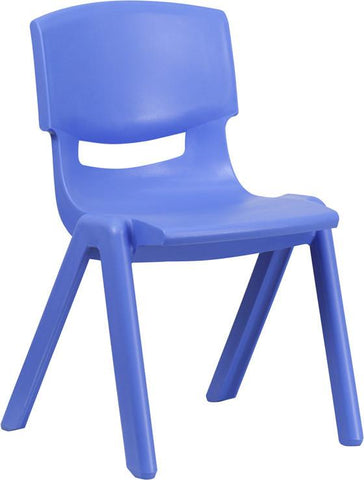 Flash Furniture YU-YCX-005-BLUE-GG Blue Plastic Stackable School Chair with 15.5'' Seat Height - Peazz Furniture