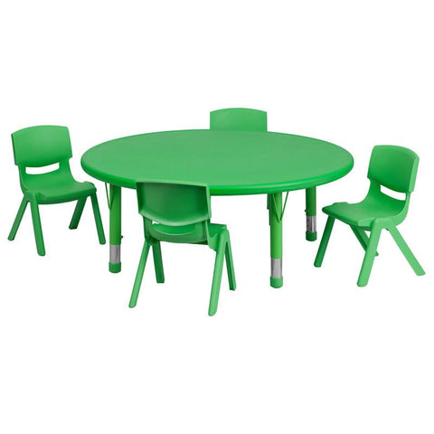 Flash Furniture YU-YCX-0053-2-ROUND-TBL-GREEN-E-GG 45'' Round Adjustable Green Plastic Activity Table Set with 4 School Stack Chairs - Peazz Furniture
