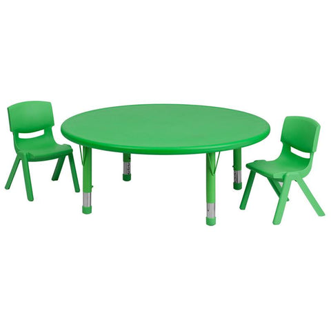 Flash Furniture YU-YCX-0053-2-ROUND-TBL-GREEN-R-GG 45'' Round Adjustable Green Plastic Activity Table Set with 2 School Stack Chairs - Peazz Furniture