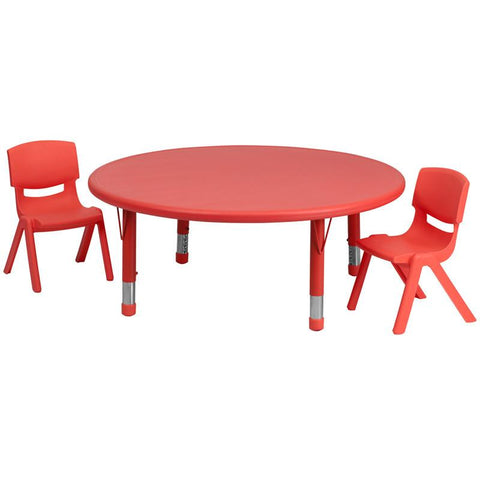 Flash Furniture YU-YCX-0053-2-ROUND-TBL-RED-R-GG 45'' Round Adjustable Red Plastic Activity Table Set with 2 School Stack Chairs - Peazz Furniture