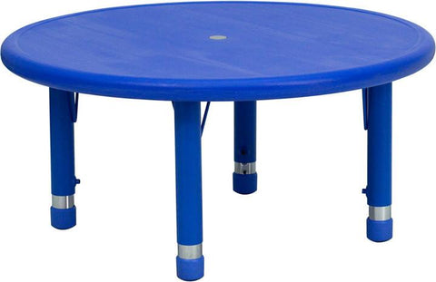 33'' Round Height Adjustable Round Blue Plastic Activity Table YU-YCX-007-2-ROUND-TBL-BLUE-GG by Flash Furniture - Peazz Furniture