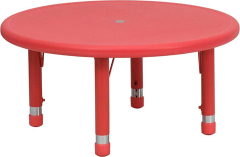 33'' Round Height Adjustable Round Red Plastic Activity Table YU-YCX-007-2-ROUND-TBL-RED-GG by Flash Furniture - Peazz Furniture