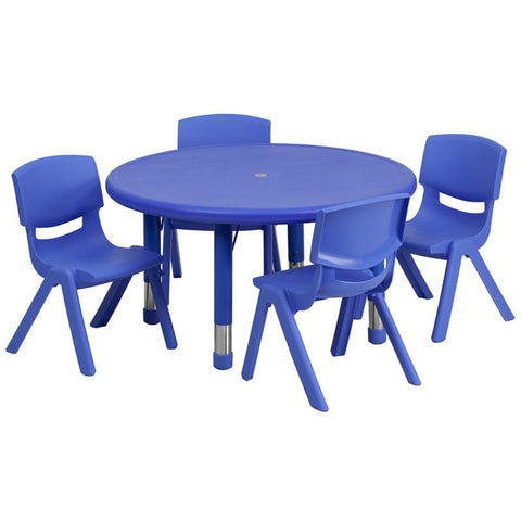 Flash Furniture YU-YCX-0073-2-ROUND-TBL-BLUE-E-GG 33'' Round Adjustable Blue Plastic Activity Table Set with 4 School Stack Chairs - Peazz Furniture