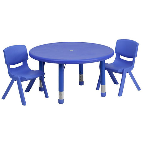 Flash Furniture YU-YCX-0073-2-ROUND-TBL-BLUE-R-GG 33'' Round Adjustable Blue Plastic Activity Table Set with 2 School Stack Chairs - Peazz Furniture