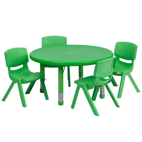 Flash Furniture YU-YCX-0073-2-ROUND-TBL-GREEN-E-GG 33'' Round Adjustable Green Plastic Activity Table Set with 4 School Stack Chairs - Peazz Furniture