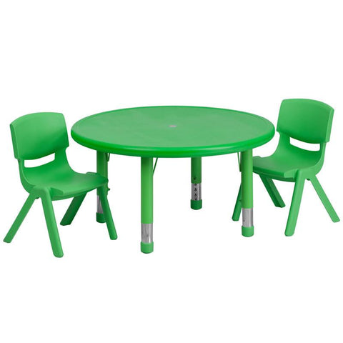 Flash Furniture YU-YCX-0073-2-ROUND-TBL-GREEN-R-GG 33'' Round Adjustable Green Plastic Activity Table Set with 2 School Stack Chairs - Peazz Furniture