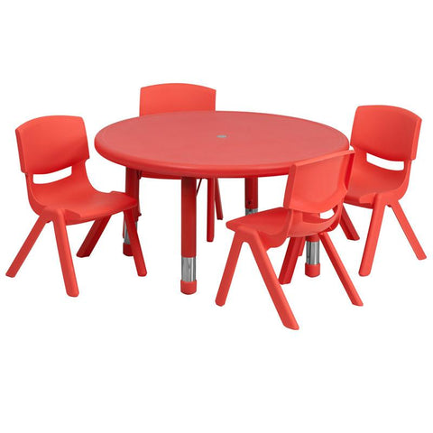 Flash Furniture YU-YCX-0073-2-ROUND-TBL-RED-E-GG 33'' Round Adjustable Red Plastic Activity Table Set with 4 School Stack Chairs - Peazz Furniture