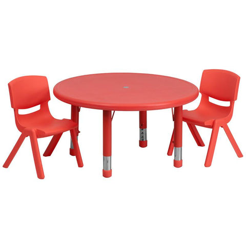 Flash Furniture YU-YCX-0073-2-ROUND-TBL-RED-R-GG 33'' Round Adjustable Red Plastic Activity Table Set with 2 School Stack Chairs - Peazz Furniture