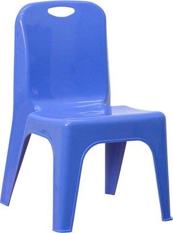 Blue Plastic Stackable School Chair with Carrying Handle and 11'' Seat Height YU-YCX-011-BLUE-GG by Flash Furniture - Peazz Furniture