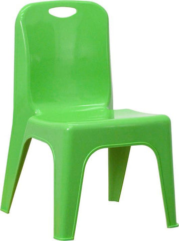 Green Plastic Stackable School Chair with Carrying Handle and 11'' Seat Height YU-YCX-011-GREEN-GG by Flash Furniture - Peazz Furniture