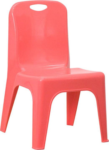 Red Plastic Stackable School Chair with Carrying Handle and 11'' Seat Height YU-YCX-011-RED-GG by Flash Furniture - Peazz Furniture