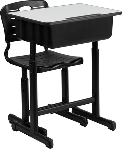 Flash Furniture YU-YCX-046-09010-GG Adjustable Height Student Desk and Chair with Black Pedestal Frame - Peazz Furniture
