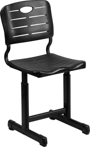 Flash Furniture YU-YCX-09010-GG Adjustable Height Black Student Chair with Black Pedestal Frame - Peazz Furniture