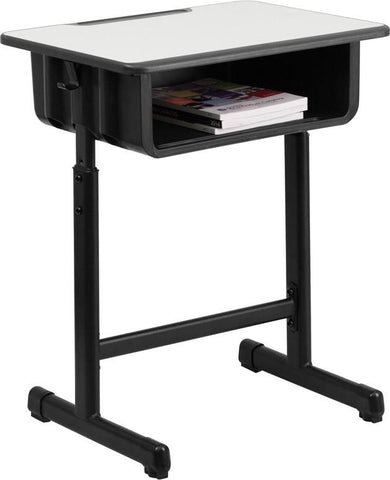 Flash Furniture YU-YCY-046-GG Student Desk with Grey Top and Adjustable Height Black Pedestal Frame - Peazz Furniture