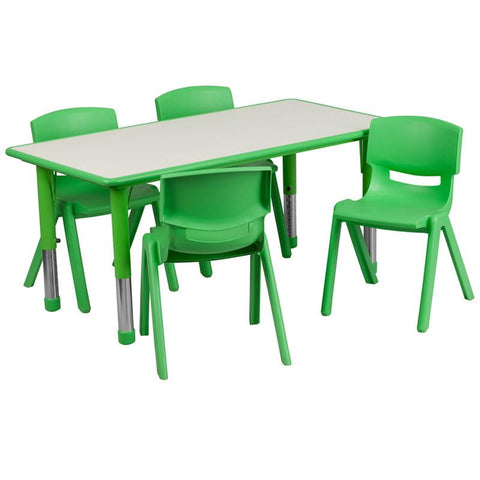 Flash Furniture YU-YCY-060-0034-RECT-TBL-GREEN-GG 23.625''W x 47.25''L Adjustable Rectangular Green Plastic Activity Table Set with 4 School Stack Chairs - Peazz Furniture