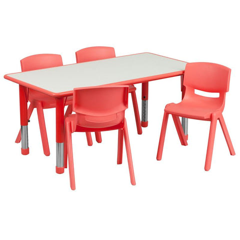 Flash Furniture YU-YCY-060-0034-RECT-TBL-RED-GG 23.625''W x 47.25''L Adjustable Rectangular Red Plastic Activity Table Set with 4 School Stack Chairs - Peazz Furniture
