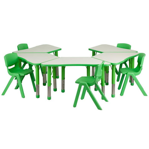 Flash Furniture YU-YCY-091-0035-TRAP-TBL-GREEN-GG Green Trapezoid Plastic Activity Table Configuration with 5 School Stack Chairs - Peazz Furniture