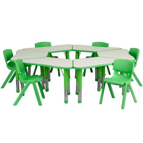 Flash Furniture YU-YCY-091-0036-TRAP-TBL-GREEN-GG Green Trapezoid Plastic Activity Table Configuration with 6 School Stack Chairs - Peazz Furniture