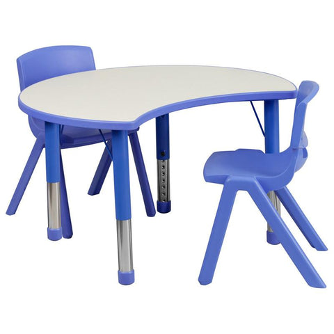 Flash Furniture YU-YCY-093-0032-CIR-TBL-BLUE-GG 25.125''W x 35.5''L Height Adjustable Cutout Circle Blue Plastic Activity Table Set with 2 School Stack Chairs - Peazz Furniture