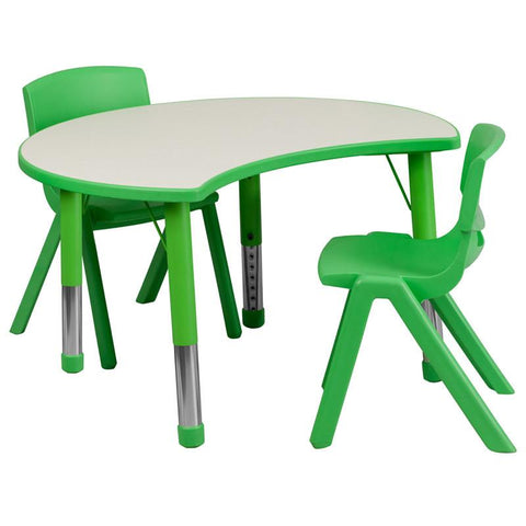 Flash Furniture YU-YCY-093-0032-CIR-TBL-GREEN-GG 25.125''W x 35.5''L Height Adjustable Cutout Circle Green Plastic Activity Table Set with 2 School Stack Chairs - Peazz Furniture