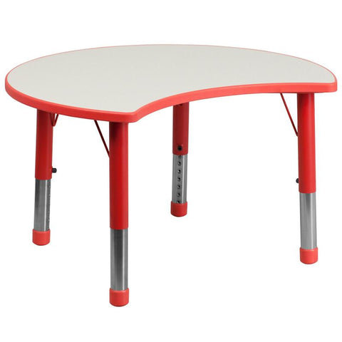 Flash Furniture YU-YCY-093-CIR-TBL-RED-GG 25.125''W x 35.5''L Height Adjustable Cutout Circle Red Plastic Activity Table with Grey Top - Peazz Furniture