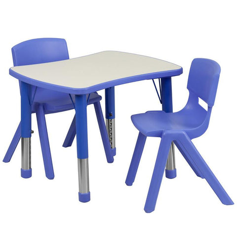 Flash Furniture YU-YCY-098-0032-RECT-TBL-BLUE-GG 21.875''W x 26.625''L Adjustable Rectangular Blue Plastic Activity Table Set with 2 School Stack Chairs - Peazz Furniture