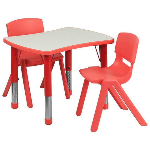 Flash Furniture YU-YCY-098-0032-RECT-TBL-RED-GG 21.875''W x 26.625''L Adjustable Rectangular Red Plastic Activity Table Set with 2 School Stack Chairs - Peazz Furniture